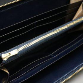 ホーウィン社製シェルコードバンのネイビー色のラウンドファスナー長財布(ゴールド色)-1-11
