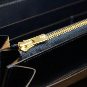 ホーウィン社製シェルコードバンのネイビー色のラウンドファスナー長財布(ゴールド色)-1-12