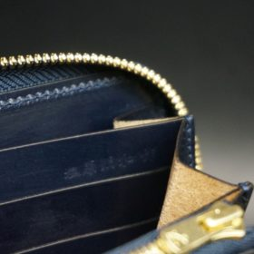ホーウィン社製シェルコードバンのネイビー色のラウンドファスナー長財布(ゴールド色)-1-15