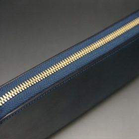 ホーウィン社製シェルコードバンのネイビー色のラウンドファスナー長財布(ゴールド色)-1-4