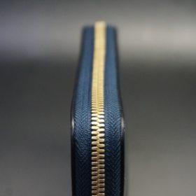 ホーウィン社製シェルコードバンのネイビー色のラウンドファスナー長財布(ゴールド色)-1-5