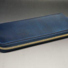 ホーウィン社製シェルコードバンのネイビー色のラウンドファスナー長財布(ゴールド色)-1-6