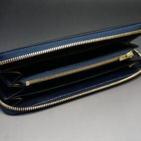 ホーウィン社製シェルコードバンのネイビー色のラウンドファスナー長財布(ゴールド色)-1-7