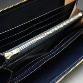ホーウィン社製シェルコードバンのスタンプ面(ネイビー)のラウンドファスナー長財布(ゴールド色)-1-10