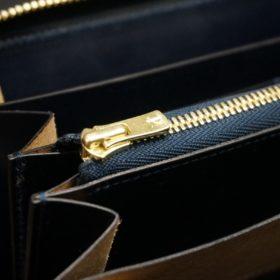 ホーウィン社製シェルコードバンのスタンプ面(ネイビー)のラウンドファスナー長財布(ゴールド色)-1-11