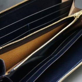 ホーウィン社製シェルコードバンのスタンプ面(ネイビー)のラウンドファスナー長財布(ゴールド色)-1-12