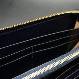 ホーウィン社製シェルコードバンのスタンプ面(ネイビー)のラウンドファスナー長財布(ゴールド色)-1-13