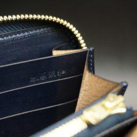 ホーウィン社製シェルコードバンのスタンプ面(ネイビー)のラウンドファスナー長財布(ゴールド色)-1-14