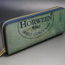 ホーウィン社製シェルコードバンのスタンプ面(ネイビー)のラウンドファスナー長財布(ゴールド色)-1-2