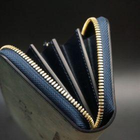 ホーウィン社製シェルコードバンのスタンプ面(ネイビー)のラウンドファスナー長財布(ゴールド色)-1-8