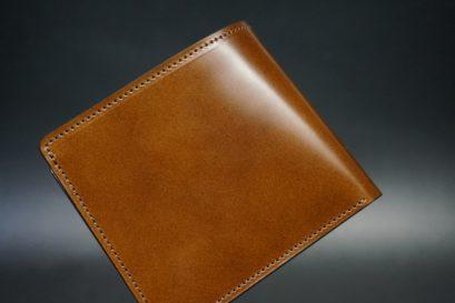 レーデルオガワ社製染料仕上げコードバンのコーヒーブラウン色の二つ折り財布(小銭入れなし)-1-1