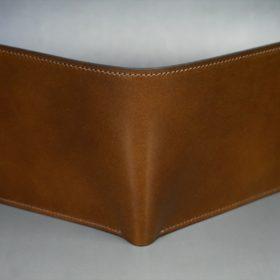 レーデルオガワ社製染料仕上げコードバンのコーヒーブラウン色の二つ折り財布(小銭入れなし)-1-2