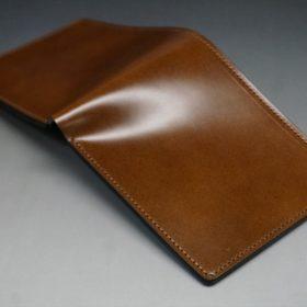 レーデルオガワ社製染料仕上げコードバンのコーヒーブラウン色の二つ折り財布(小銭入れなし)-1-3
