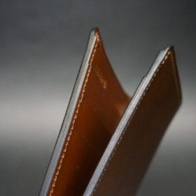 レーデルオガワ社製染料仕上げコードバンのコーヒーブラウン色の二つ折り財布(小銭入れなし)-1-4