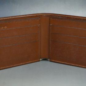 レーデルオガワ社製染料仕上げコードバンのコーヒーブラウン色の二つ折り財布(小銭入れなし)-1-6