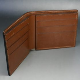 レーデルオガワ社製染料仕上げコードバンのコーヒーブラウン色の二つ折り財布(小銭入れなし)-1-7