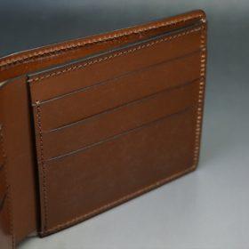 レーデルオガワ社製染料仕上げコードバンのコーヒーブラウン色の二つ折り財布(小銭入れなし)-1-9