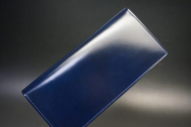 レーデルオガワ社製染料仕上げコードバンのネイビー色の長財布(シルバー色)-1-1