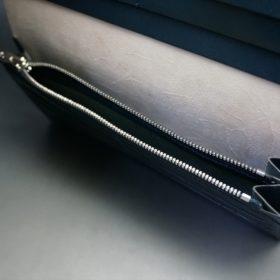 レーデルオガワ社製染料仕上げコードバンのネイビー色の長財布(シルバー色)-1-10