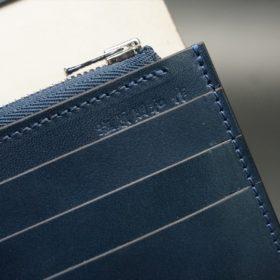 レーデルオガワ社製染料仕上げコードバンのネイビー色の長財布(シルバー色)-1-11