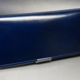 レーデルオガワ社製染料仕上げコードバンのネイビー色の長財布(シルバー色)-1-2