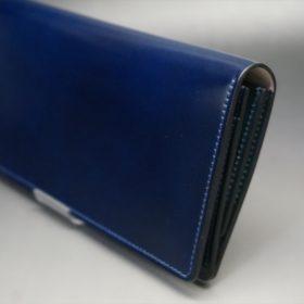 レーデルオガワ社製染料仕上げコードバンのネイビー色の長財布(シルバー色)-1-3