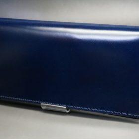 レーデルオガワ社製染料仕上げコードバンのネイビー色の長財布(シルバー色)-1-4