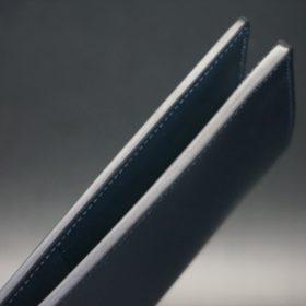 レーデルオガワ社製染料仕上げコードバンのネイビー色の長財布(シルバー色)-1-5