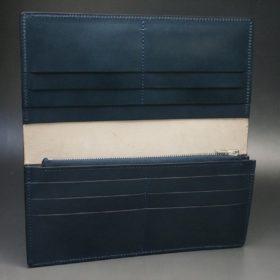 レーデルオガワ社製染料仕上げコードバンのネイビー色の長財布(シルバー色)-1-7