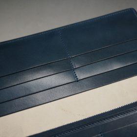 レーデルオガワ社製染料仕上げコードバンのネイビー色の長財布(シルバー色)-1-8