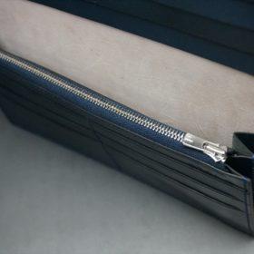 レーデルオガワ社製染料仕上げコードバンのネイビー色の長財布(シルバー色)-1-9