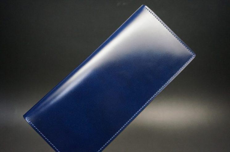レーデルオガワ社製染料仕上げコードバンのネイビー色の長財布(小銭入れなしタイプ)-1-1
