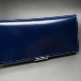 レーデルオガワ社製染料仕上げコードバンのネイビー色の長財布(小銭入れなしタイプ)-1-2