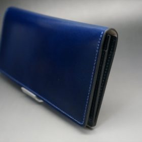 レーデルオガワ社製染料仕上げコードバンのネイビー色の長財布(小銭入れなしタイプ)-1-3