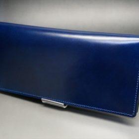 レーデルオガワ社製染料仕上げコードバンのネイビー色の長財布(小銭入れなしタイプ)-1-4
