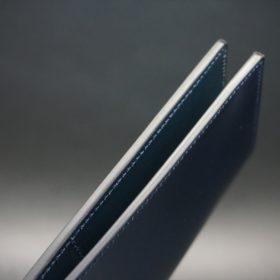 レーデルオガワ社製染料仕上げコードバンのネイビー色の長財布(小銭入れなしタイプ)-1-5