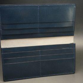 レーデルオガワ社製染料仕上げコードバンのネイビー色の長財布(小銭入れなしタイプ)-1-7