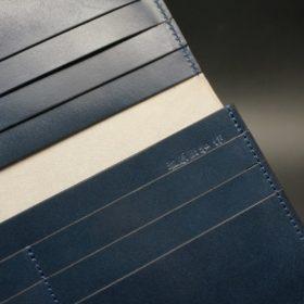 レーデルオガワ社製染料仕上げコードバンのネイビー色の長財布(小銭入れなしタイプ)-1-9