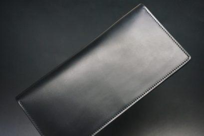 レーデルオガワ社製オイル仕上げコードバンのブラック色の長財布(シルバー色)-1-1