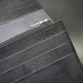 レーデルオガワ社製オイル仕上げコードバンのブラック色の長財布(シルバー色)-1-9