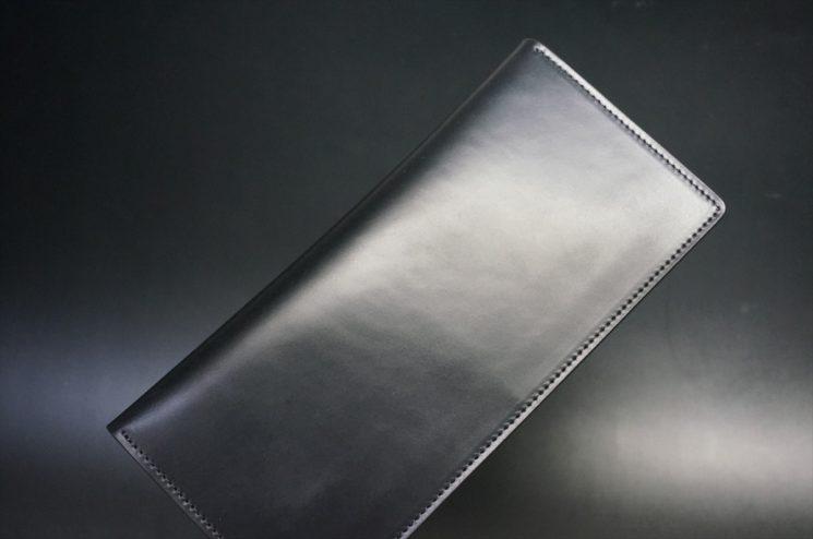 レーデルオガワ社製オイル仕上げコードバンのブラック色の長財布(小銭入れなしタイプ)-1-1