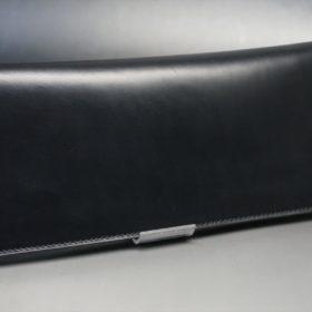 レーデルオガワ社製オイル仕上げコードバンのブラック色の長財布(小銭入れなしタイプ)-1-2