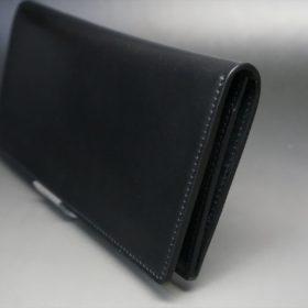 レーデルオガワ社製オイル仕上げコードバンのブラック色の長財布(小銭入れなしタイプ)-1-3