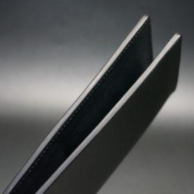 レーデルオガワ社製オイル仕上げコードバンのブラック色の長財布(小銭入れなしタイプ)-1-4