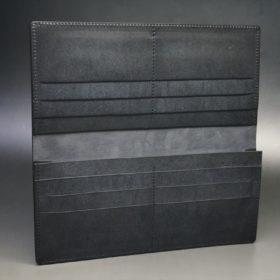 レーデルオガワ社製オイル仕上げコードバンのブラック色の長財布(小銭入れなしタイプ)-1-6