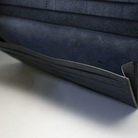 レーデルオガワ社製オイル仕上げコードバンのブラック色の長財布(小銭入れなしタイプ)-1-7