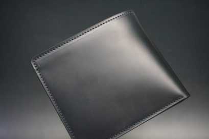 レーデルオガワ社製オイル仕上げコードバンのブラック色の二つ折り財布(小銭入れなし)-1-1