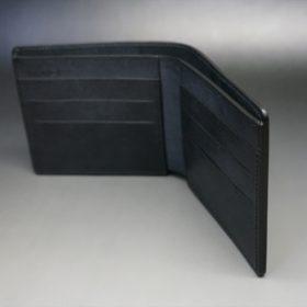 レーデルオガワ社製オイル仕上げコードバンのブラック色の二つ折り財布(小銭入れなし)-1-10