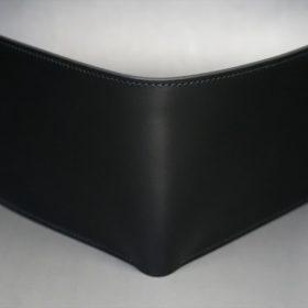 レーデルオガワ社製オイル仕上げコードバンのブラック色の二つ折り財布(小銭入れなし)-1-2