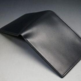 レーデルオガワ社製オイル仕上げコードバンのブラック色の二つ折り財布(小銭入れなし)-1-4